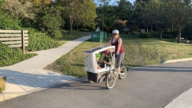 Tara Gallen on her cargo bike.